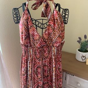 Red, Brown & Gold Maxi Halter Dress